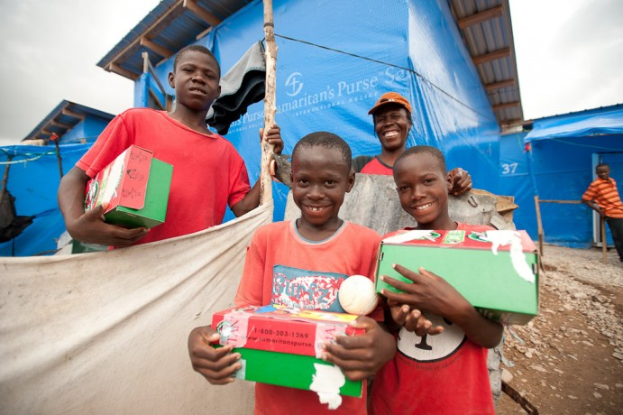 Children in Haiti receive good news and great joy through Operation Christmas Child shoeboxes.