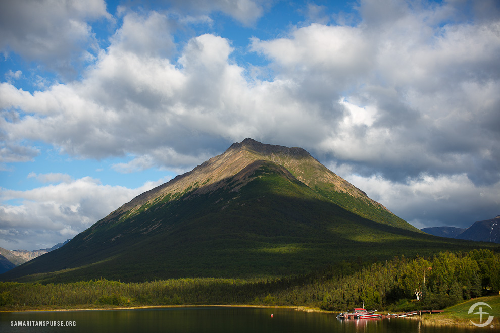 Tanalian Mountain towers over Samaritan Lodge Alaska. It is a challenging hike to the top, but worth it for the views of Lake Clark and the surrounding terrain.