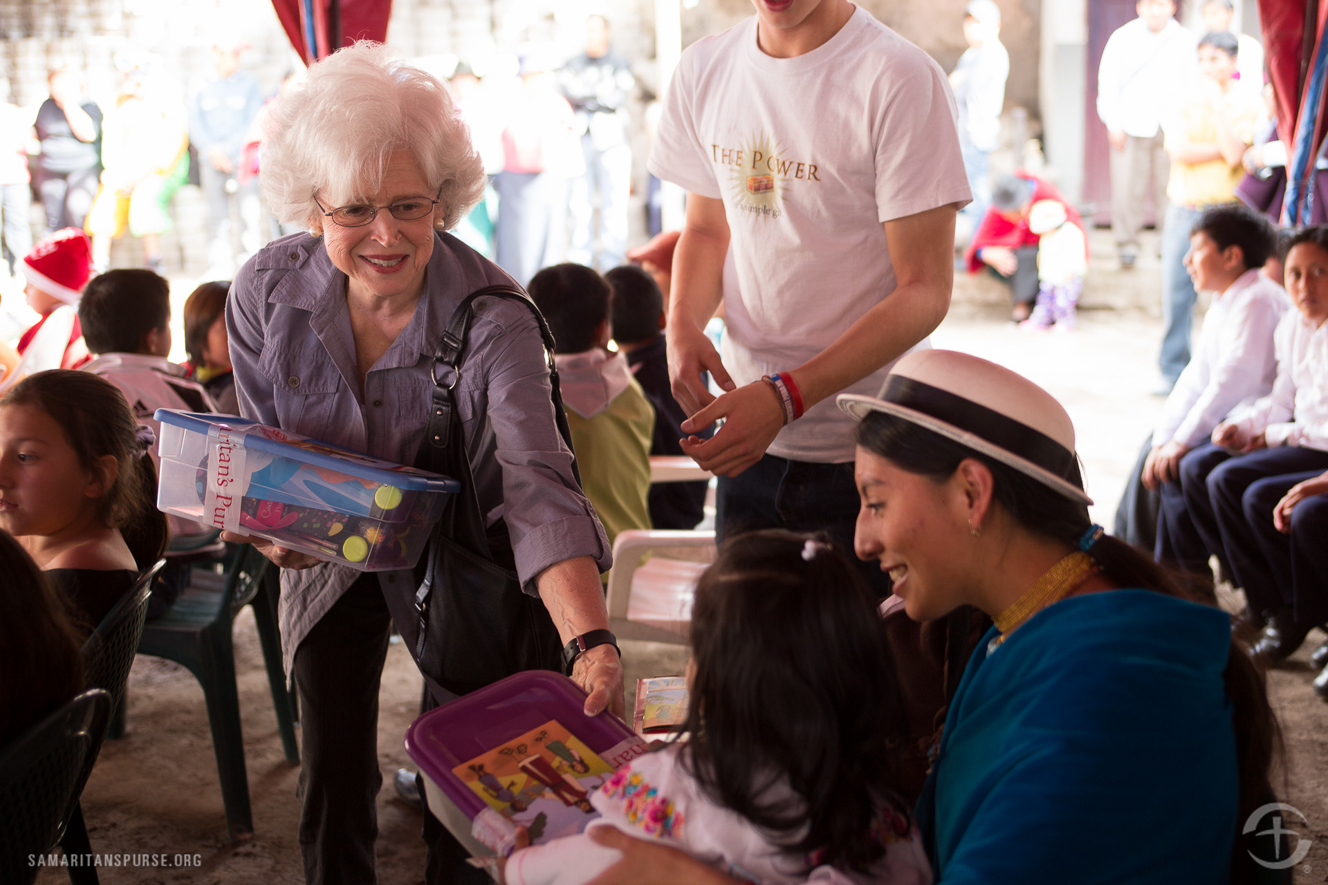 Ann Severance, Michael W. Smith's mother-in-law, helped pass out gifts.