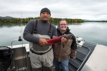Max and Bev Poyer land a salmon
