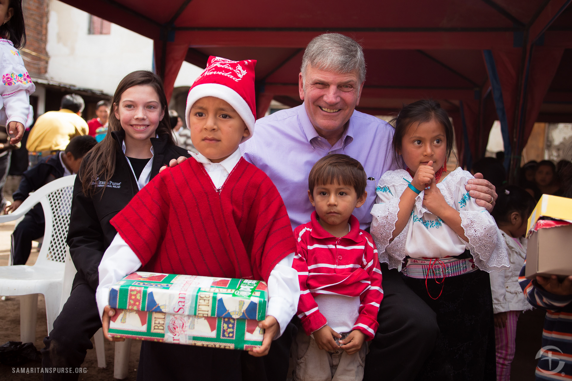 Franklin Graham's granddaughter C.J. (far left) also made the journey to Ecuador.