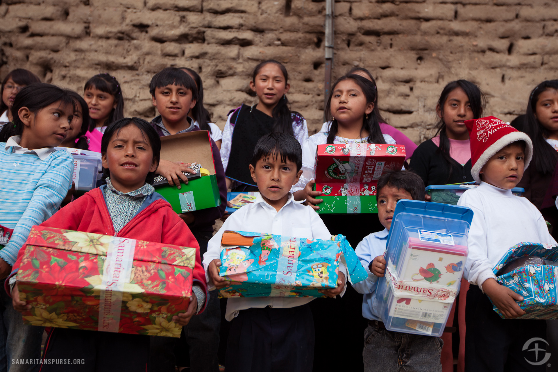 Shoe box gifts were distributed at two churches and a children's home.