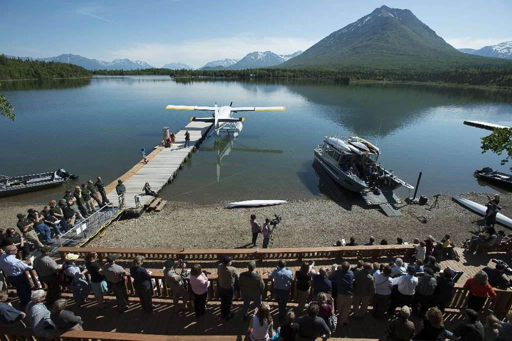 The dedication ceremony took place on the shore of Hardenburg Bay, in the southwestern position of Lake Clark National Park and Preserve