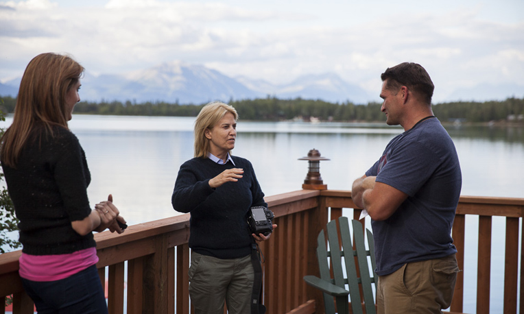Greta Van Susteren speaks with Gunnery Sergeant Fergal Cagney, USMC, and his wife, Carrie, overlooking the waters of Lake Clark.