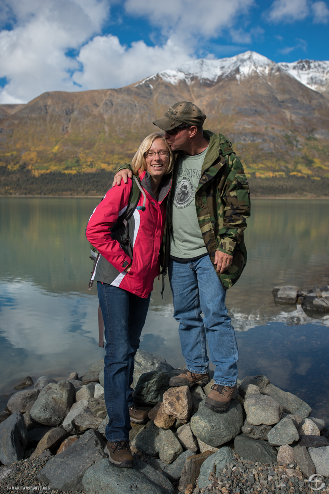 "Sergeant First Class Tony Lang, ANG, stole a kiss from his wife, Tera, during their excursion to Twin Lakes in Lake Clark National Park and Preserve. Tony was wounded while serving two tours in Iraq and one in Afghanistan. ""You don't forget some things you went through,"" he said."