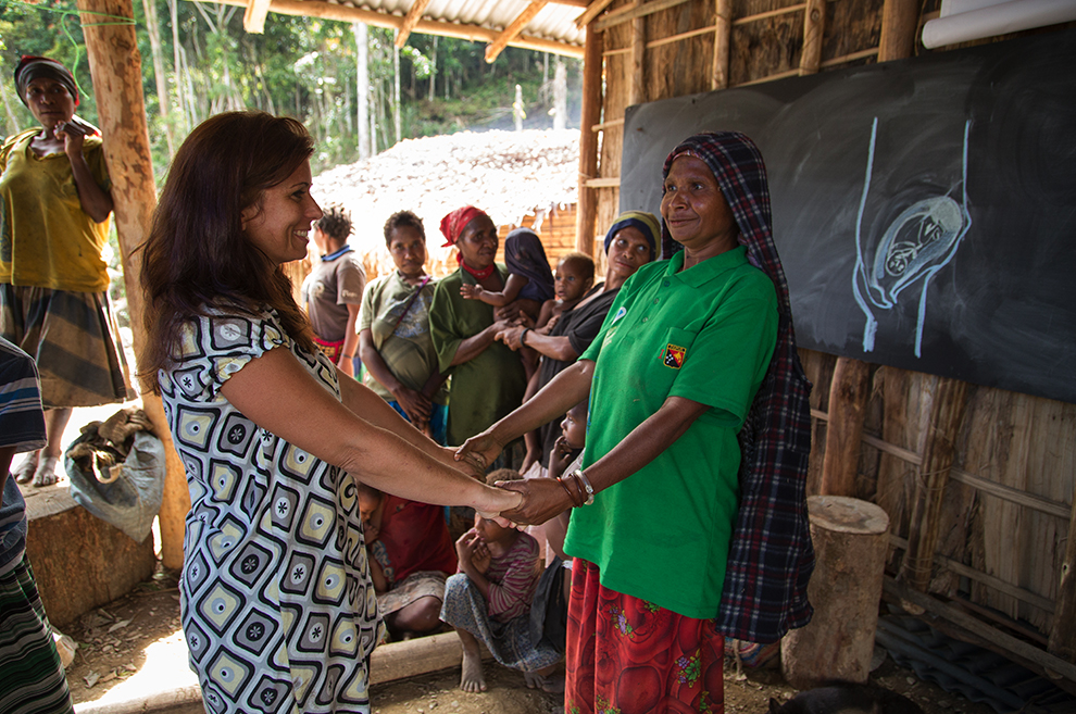Susan Kopf, who is also a nurse, worked with the women as they learned about hygiene, childbirth, and infant care.