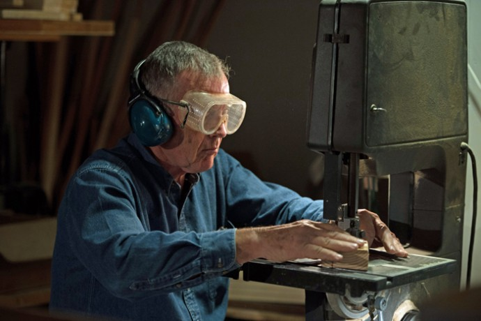 Clyde spends 6-8 hours a day in his woodshop, making toys for children in need.