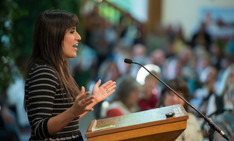 Naghmeh Abedini spoke to the Samaritan's Purse staff in October about her husband's imprisonment in Iran.