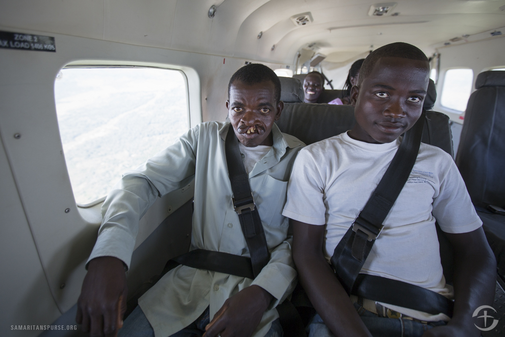 Samaritan's Purse transported men, women, and children of all ages from across South Sudan to the capital city of Juba so they could receive cleft lip repair surgery. Like many others, this patient and his caretaker had never flown in an airplane before.