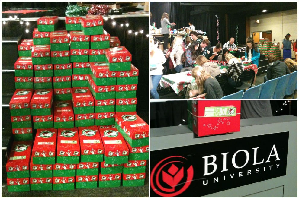 Students at Biola University near Los Angeles  packed many shoebox gifts in preparation for National Collection Week.