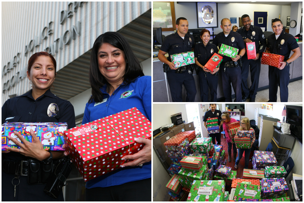 Officers at the Los Angeles Police Department gathered shoeboxes Tuesday morning.