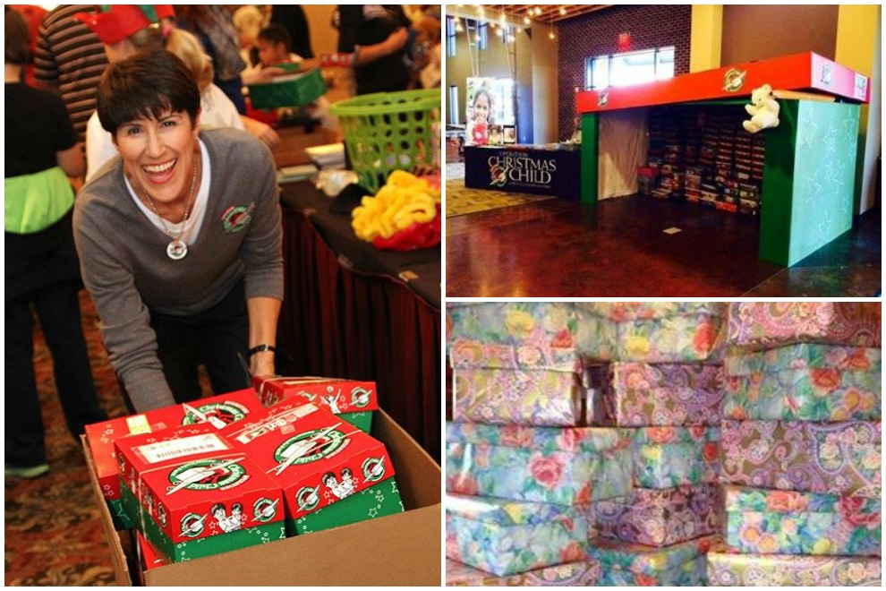 National Collection Week is in full swing in Kentucky and Indiana as well.  Clockwise from left: Indianapolis Area Coordinator Amber Best, a Louisville church, and bright shoeboxes from Heart of Kentucky Area Coordinator Kathy Kendrick.