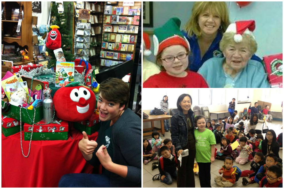 Stacey Minion, a community relations volunteer in Minnesota, set up a display in a local bookstore (left). In the Bronx, New York, three generations of shoebox packers took part in Operation Christmas Child (top right), and so did school children in the Lower Hudson area (bottom right).