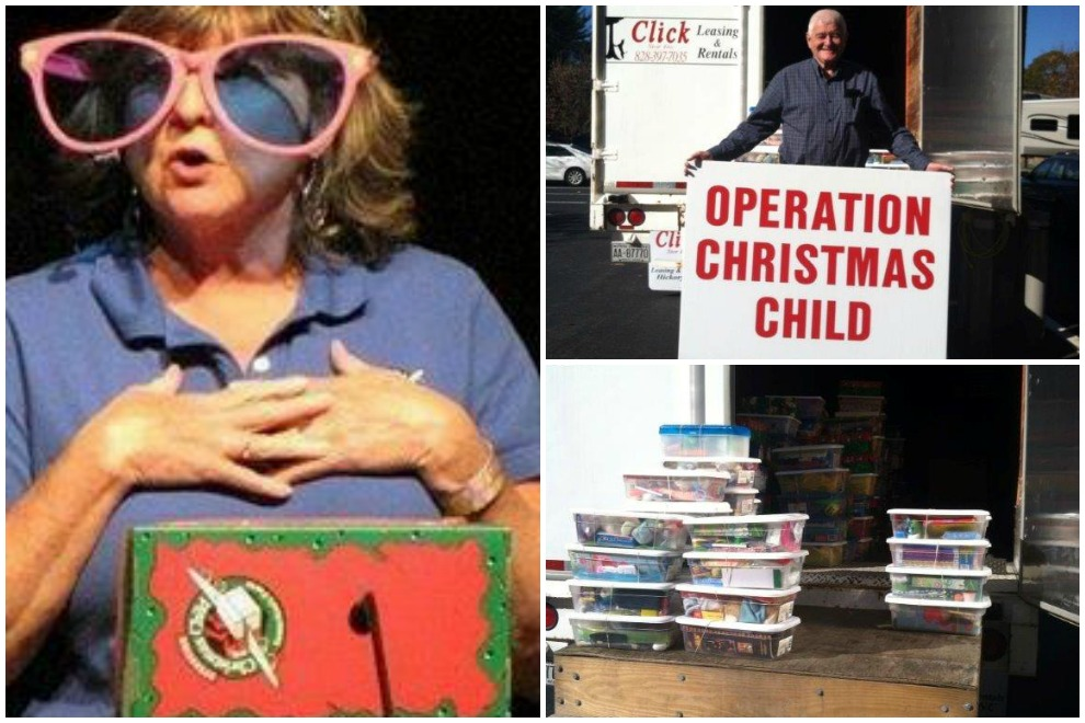 In Asheville, North Carolina, volunteer Denise Gravely (left) is in the Operation Christmas Child spirit. The shoeboxes are also streaming into The Cove in Asheville (right), one of thousands of collection points across the U.S.
