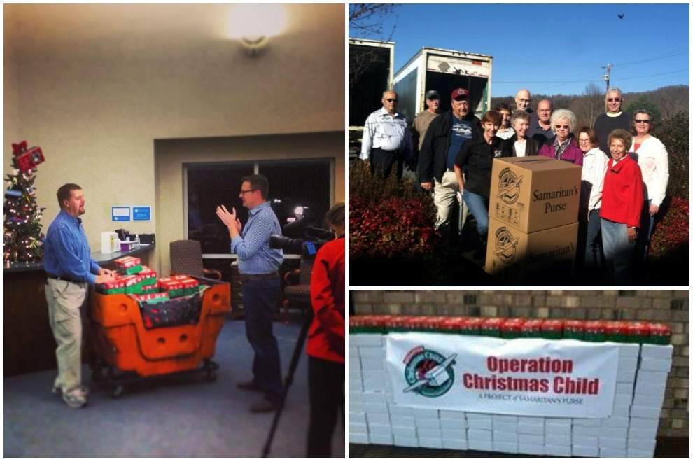 North Carolinians are doing their part to pack and collect shoeboxes, as well as spread the word.  Clockwise from left: Danny Spainhour on Fox 8 in Winston-Salem, Beverly Hills Baptist Church in Asheville, shoeboxes from Burlington.