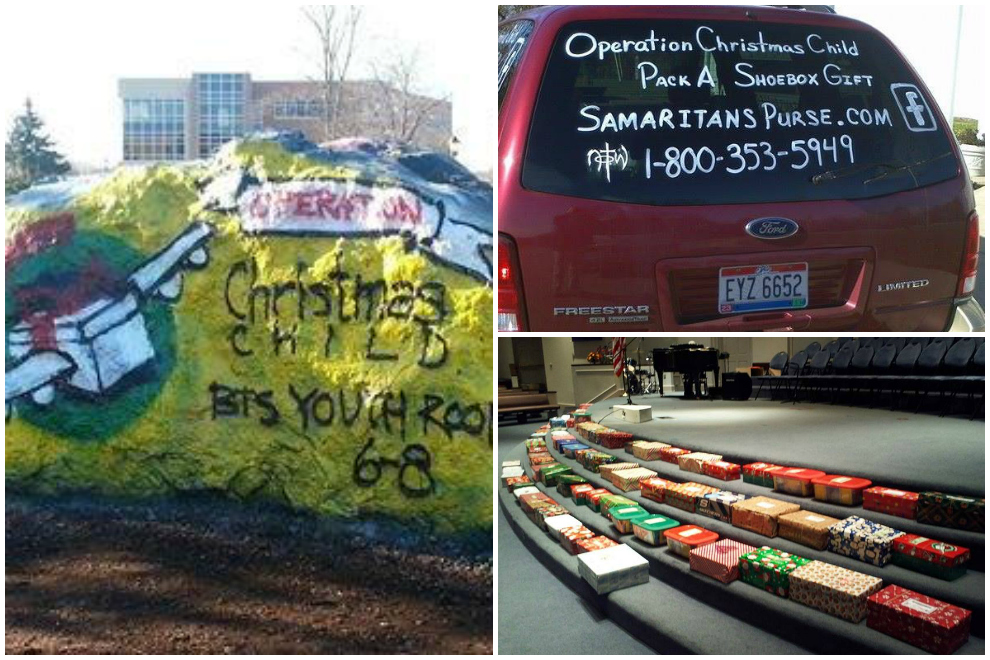 Supporters in Ohio painted a spirit rock (left) to let people know about their packing party, while another Ohio volunteer painted her vehicle's window (top right). A Christian School in Allentown, Pennsylvania laid their shoeboxes on the altar for chapel services (bottom right).