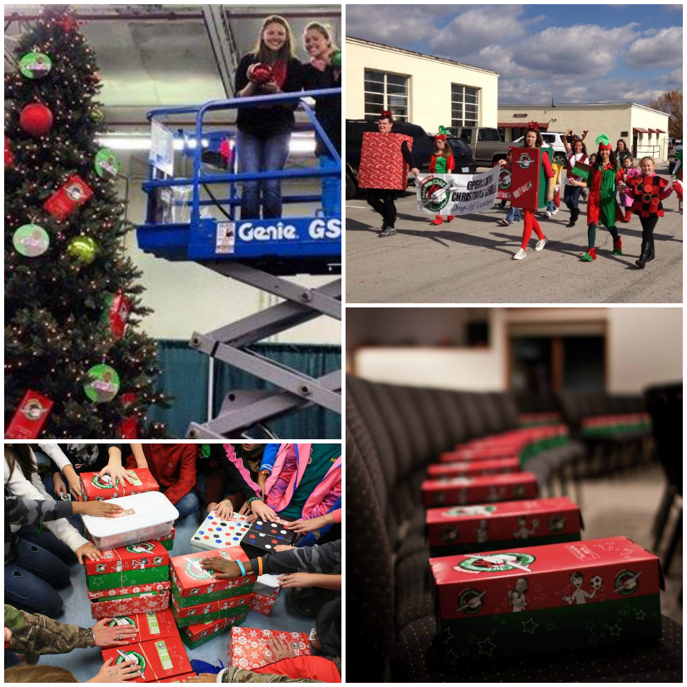 """""""Everything's bigger in Texas,"""" they say. The towering Christmas tree is filled with Operation Christmas Child ornaments at the newest processing center in Dallas/Fort Worth (top left). An Awana group in Texas prayed over their shoebox gifts (bottom left). The College of the Ozarks homecoming parade in Missouri featured marching shoeboxes (top right), and a Wisconsin church had a shoebox ready for each attendee (bottom right)."""