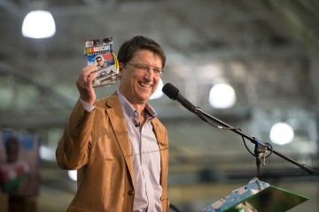 In honor of his state, North Carolina Gov. Pat McCrory puts NASCAR items in his shoebox gift.