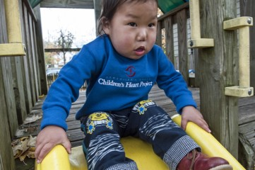 Munkhbayar enjoys playing outside now that the four issues with his heart have been repaired. Since coming to the U.S. for surgery, he has grown nearly two inches.