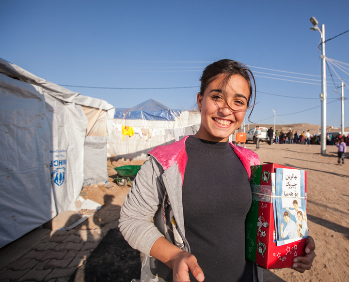 15-year-old Heyat Ali received a shoebox in Kawergosk camp.