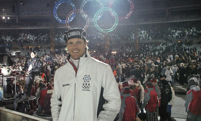 Brock Kreitzburg just before walking with his teammates during the the 2006 Olympic Winter Games opening ceremony in Torino, Italy.