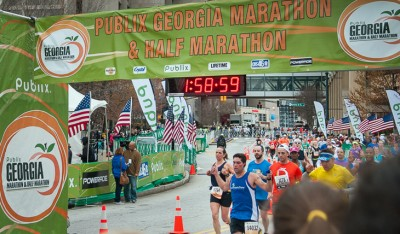 Joel Troutt finishes the half-marathon, completing the 13.1-mile race in under two hours.