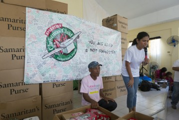 Many of the shoebox gifts that Joy helped deliver were packed by families that went through Hurricane Sandy. The boxes were part of a special airlift that arrived in the Philippines before Christmas.