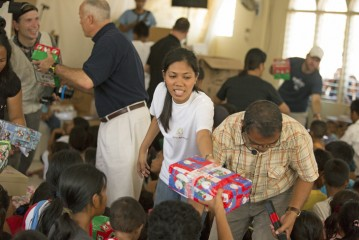 The shoebox gifts brought joy to children suffering in the aftermath of the typhoon.