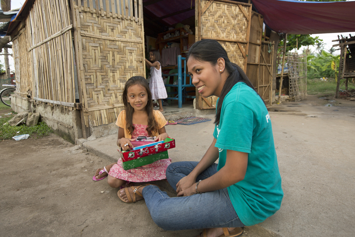 Her involvement with Operation Christmas Child gives Joy the opportunity to tell children about Jesus.