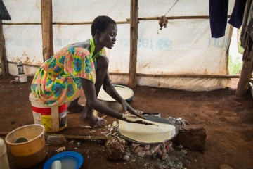 Rebecca left everything behind when she fled South Sudan. She tries to provide for her family with a food ration provided by Samaritan's Purse.