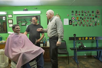 Jeremiah Marcum gets his final Marine haircut before retirement. Pastor Pat Fleming got his hair cut in solidarity with Jeremiah minutes later.