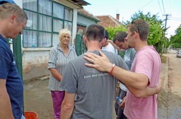 The team prayed with Biljana after creating a dry room in her home.