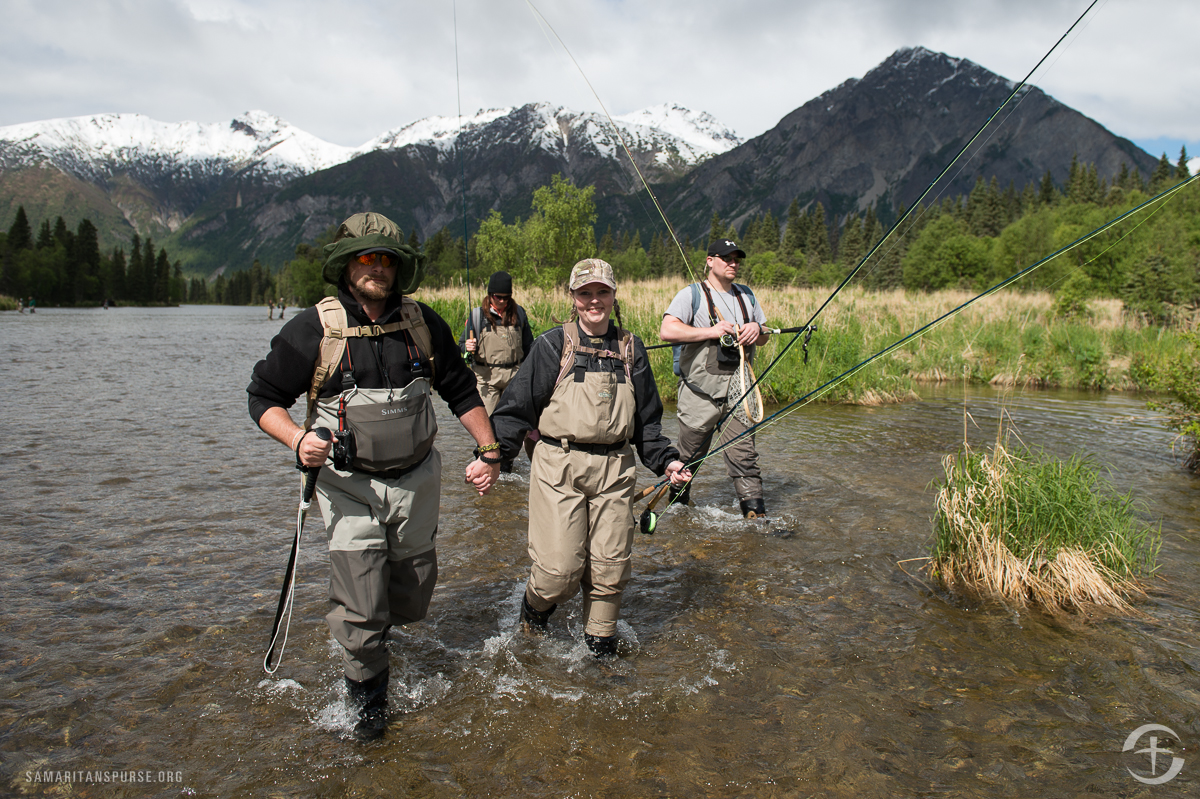 Whether getting there by plane or boat, couples enjoy fishing and sightseeing adventures in and around Lake Clark National Park. Retired Army Specialist David Kelley and his wife Stacey of Yelm, Washington, relished their time in the wilderness together. David served in Iraq and deals with a broken back, PTSD, and TBI.