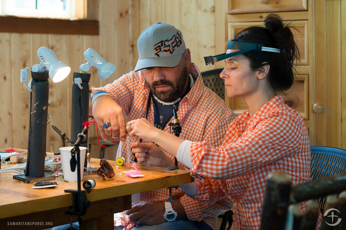 James and Azeita Taylor enjoyed teaming up to take on the challenge of fly tying.