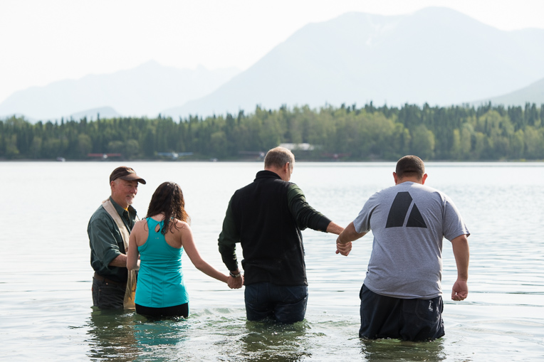 John and Cecilia Valdez were baptized in the chilly waters of Lake Clark.
