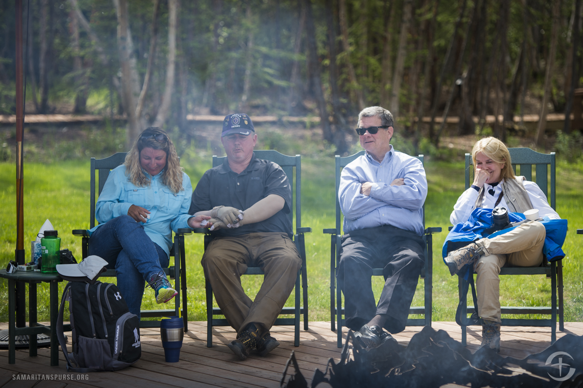 Greta Van Susteren and John Coale listen as Mike and Peggy Rollins talk about their experiences during Week 5 of the Operation Heal Our Patriots summer season.