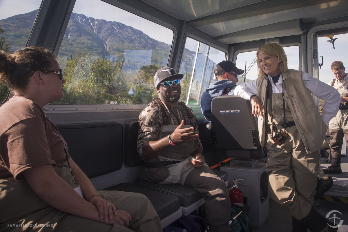 Greta Van Susteren heads out for a day of fishing with Chuck Armstead.