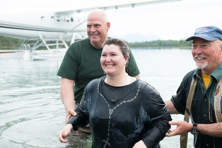 Wendy Beaulieu gave a brief testimony before being baptized. She told the gathered crowd that Jesus had never abandoned her despite a number of significant challenges in her life.