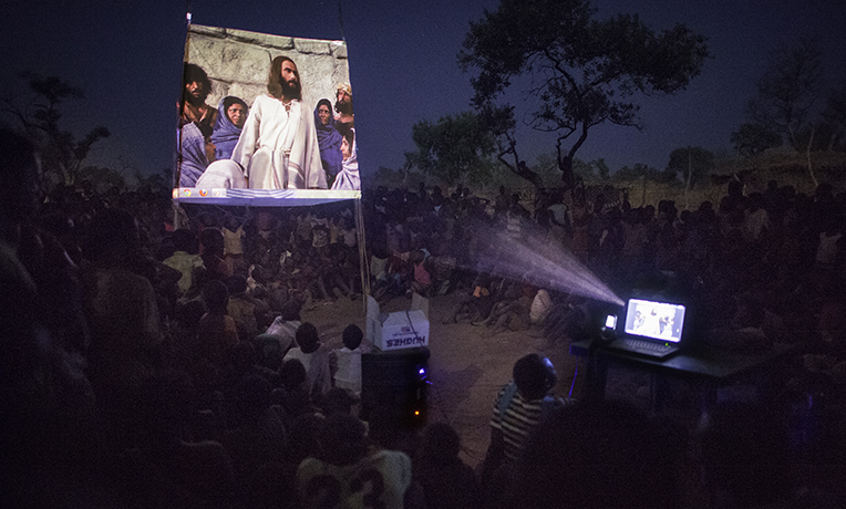 Samaritan's Purse shows the Jesus film throughout the world, like in this refugee camp in Yida, South Sudan.