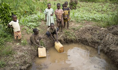 In rural Uganda, many people drink from water sources like this one. Small, muddy ponds shared by animals are breeding grounds for disease. With the installation of a new water source, the people in Egali will no longer have to drink from this source.
