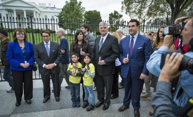 Franklin Graham, Naghmeh Abedini, and other speakers and organizers of the prayer event gather in front of the White House on Sept. 25 last year.