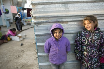 New coats are providing warmth for children iving in tents or unfinished buildings without heat.