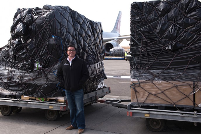 Samaritan's Purse staff welcomed 80 tons of clothing, jackets, blankets, and heavy-duty plastic as it landed in Erbil.