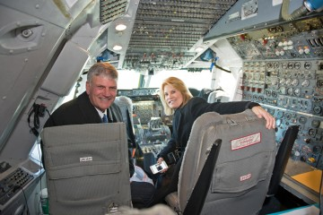 Franklin Graham and Greta Van Susteren check out the cockpit of the 747 cargo jet flying shoeboxes to Northern Iraq.
