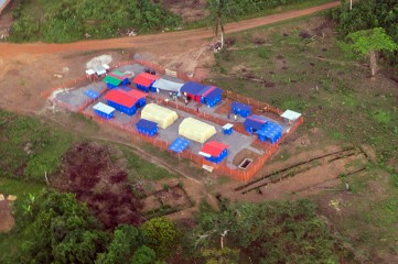 The Fish Town Community Care Center, as seen from the air, stands ready to receive Ebola patients.