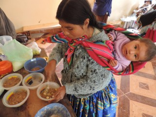 Victoria prepares nutritious food for her family.