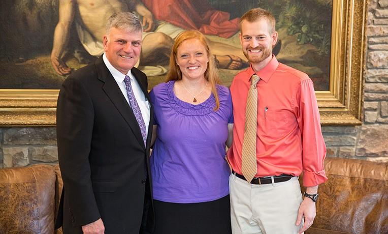Samaritan's Purse President Franklin Graham welcomed Dr. Kent and Amber Brantly to Samaritan's Purse international headquarters in Boone, North Carolina, last year.