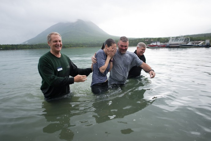 Platt and Andrea Weinrick were two of 16 Operation Heal Our Patriots participants baptized last week. Each couple has been affected by war injuries sustained after 9/11.