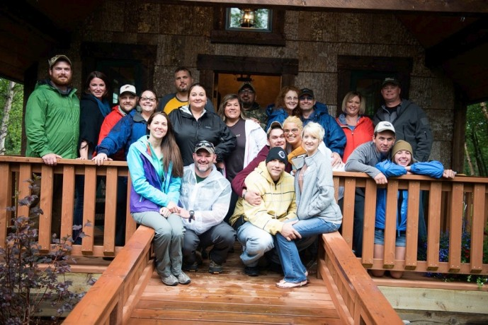 All 10 couples of Week Seven pose for a group shot in front of the Samaritan Lodge Chapel.