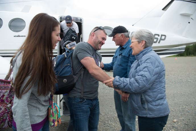 Samaritan's Purse President Franklin Graham and his wife Jane greeted Platt and Andrea Weinrick along with all the other patriot couples as they arrived in Port Alsworth.
